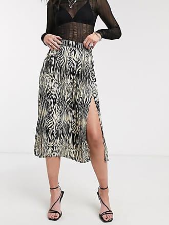 Object pleated midi skirt in animal print-Multi