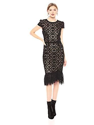 Betsey Johnson Womens Lace Midi Dress with Ruffled Hem, Black, 8