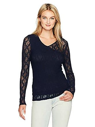Only Hearts Womens Stretch Lace V-Neck Wrap Tee, Navy S