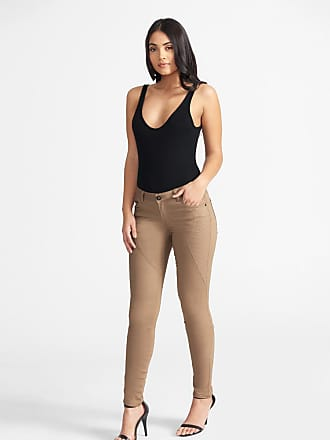 Alloy Apparel Tall Skinny Moto Twill Pants for Women Stone Size 10/35 - Cotton