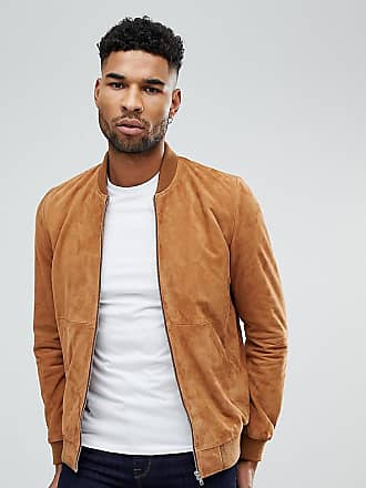 Asos tall suede bomber jacket in tan - Tan