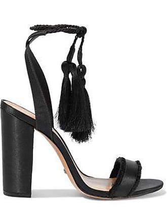 Schutz Schutz Woman Primm Tasseled Frayed Satin Sandals Black Size 5