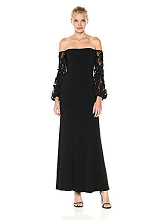 Shelli Segal Womens Off The Shoulder Gown with 3D Embroidered Mesh, Black 4