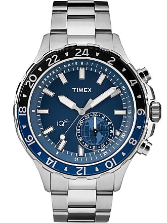 Timex Watch Mens Iq+ Move Multi-Time 43MM Bracelet Silver-Tone/stainless Steel/blue Item Tw2R39700F5