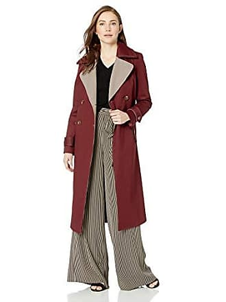 59746a72808e Badgley Mischka Womens Cotton Mid Length Trench Coat with Plaid Print  Lapels, Burgundy, Medium