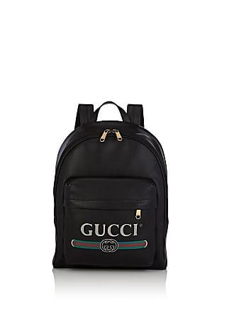Gucci Mens Logo Leather Backpack - Black 1a203d384d4c6