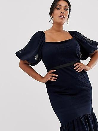 Asos Curve ASOS DESIGN Curve lace puff sleeve pephem dress - Navy