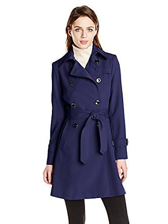 Trina Turk Womens Juliette Double-Breasted Trench Coat, Ink, 8