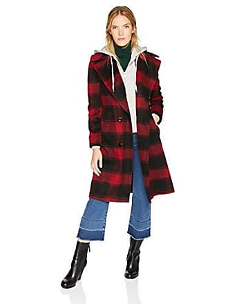 Kendall + Kylie Womens Double Breasted Wool Coat, Black/red Plaid, Small