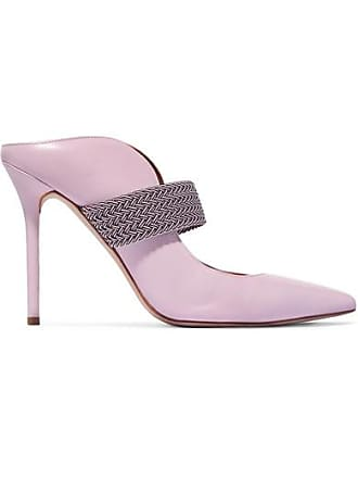 Malone Souliers Mara 100 Cord-trimmed Leather Mules - Baby pink