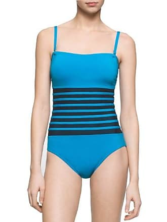 031a72add414f Calvin Klein Womens Mesh Inset Bandeau One-Piece Swimsuit Cyan Blue Size 8