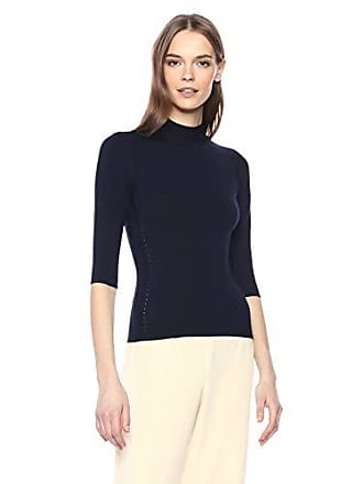 Theory Womens Half Sleeve Fitted Turtleneck Shell, deep Navy, L