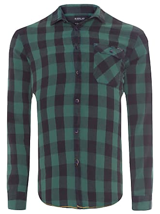 Replay CAMISA MASCULINA PLAID WASHED - VERDE