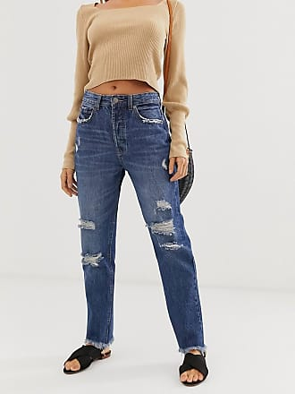 Stradivarius authentic mom jeans in ripped in dark wash-Blue