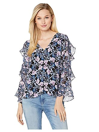 b5249f40182e88 Vince Camuto Tiered Ruffle Long Sleeve Charming Floral Blouse (Classic  Navy) Womens Clothing