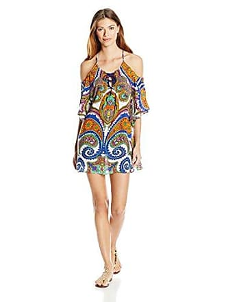565f7fc320a8b Trina Turk Womens Pacific Paisley Off-The-Shoulder Tunic Cover Multi