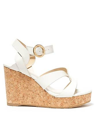 4da5f707fc5 Jimmy Choo London Aleili 100 Wedge Leather Sandals - Womens - White