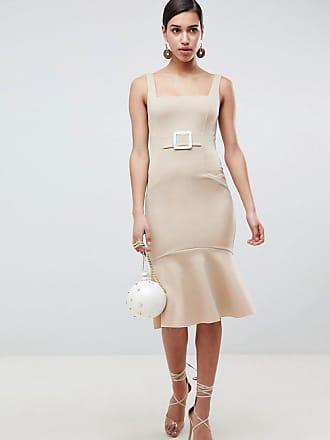 Asos ASOS Pencil Dress With Contrast Buckle - Beige