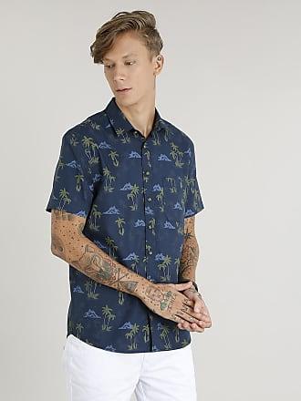 2d0edc7754 C A Camisa Masculina Estampada de Coqueiro com Bolso Manga Curta Azul  Marinho
