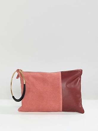 e55958ae90 Asos Pochette colourblock in pelle e camoscio con zip in alto - Rosa
