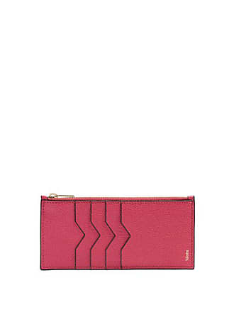 Valextra Contrast Edge Grained Leather Coin Purse - Womens - Pink