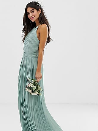 a98853a5f6 Tfnc Petite bridesmaid exclusive high neck pleated maxi dress in sage -  Green