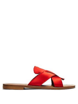ÁLVARO GONZÁLEZ Antoniona Frayed Satin Sandals - Womens - Red