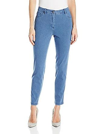 Ruby Rd. Womens Fly Front Knitted Indigo Twill Pant, Light, 8