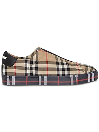eff7b6a6409 Burberry Contrast Check and Leather Slip-on Sneakers - Neutrals