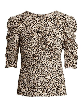 a7a66d89066b3 Rebecca Taylor Ruched Leopard Print Silk Blouse - Womens - Animal