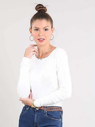 Basics Suéter Feminino Básico em Tricô Decote Redondo Off White