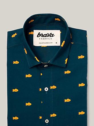 Brava Fabrics Mens Shirt - Mens Casual Shirt - Mens Shirt - 100% Cotton - Model Yellow Submarine