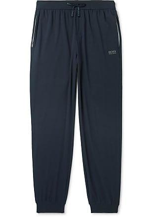 HUGO BOSS Tapered Stretch-cotton Jersey Sweatpants - Blue