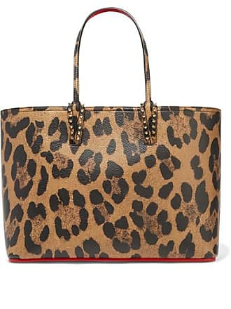 1b38d2101721 Christian Louboutin Cabata Spiked Leopard-print Textured-leather Tote -  Leopard print