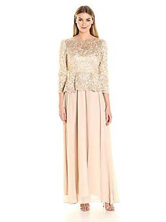 Decode 1.8 Womens Long Sleeve Lace Dress with Peplum, Champagene, 2