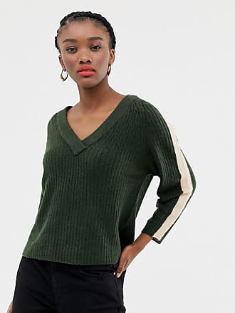 Jacqueline de Yong stripe sleeve v neck sweater - Green