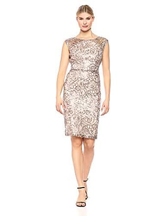 Ignite Womens Sequined Lace Short Dress, Champagne, 6