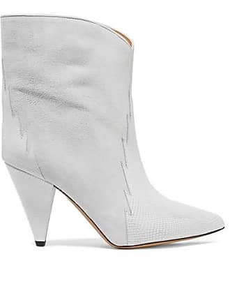 3bfd52bb50c8 Isabel Marant Leider Suede And Lizard-effect Leather Ankle Boots - Off-white