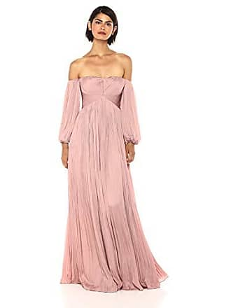 1f9fbaf57b1a9c Halston Heritage Womens Off Shoulder Sweetheart Neck Pleated Gown,  Tuberose, 0