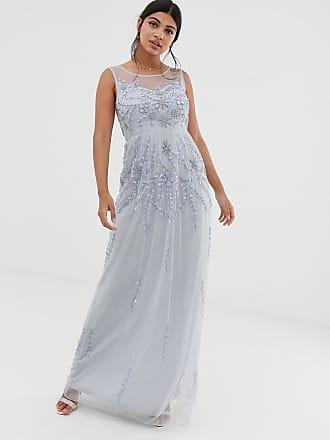 Amelia Rose embellished sleeveless maxi dress in soft blue - Blue