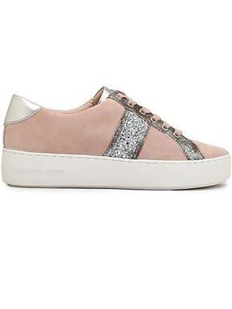 8c7944bb3eeffa Michael Kors Michael Michael Kors Woman Metallic-trimmed Glittered Suede  Sneakers Pastel Pink Size 7.5