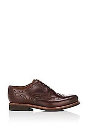 157e3e3abf0 Grenson Mens Stanley Leather Wingtip Balmorals - Dk. brown Size 10 M