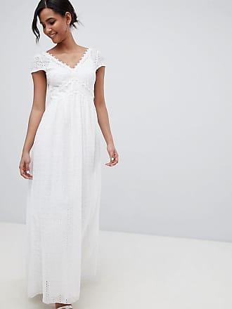 4c6d2acbe49 Little Mistress Robe longue décolletée avec broderie anglaise sur lensemble  - Blanc - Blanc