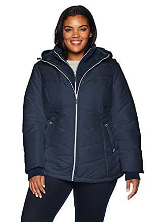 79f3cd1536cf7 Details Womens Plus Size Thigh-Length Puffer Jacket with Sweatshirt Bib