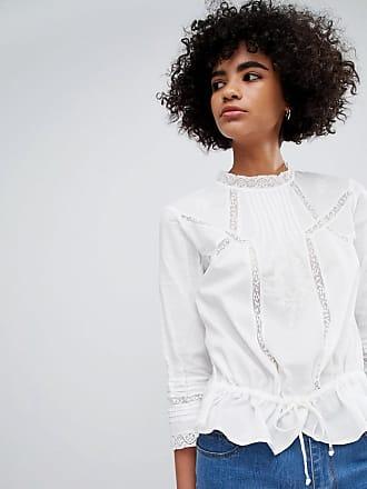 Vero Moda Lace Insert Prairie Blouse - White