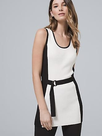 White House Black Market Womens Colorblock Sleeveless Sweater Tunic With Removable Belt by White House Black Market, Ecru/Black, Size XL