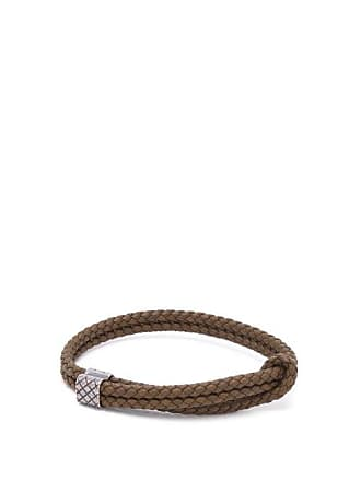 554c3d643b87cd Bottega Veneta Double Intrecciato Woven Leather Bracelet - Mens - Khaki