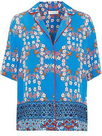 Sandro Sandro Woman Ruffine Broderie Anglaise-paneled Floral-print Crepe De Chine Shirt Bright Blue Size 2