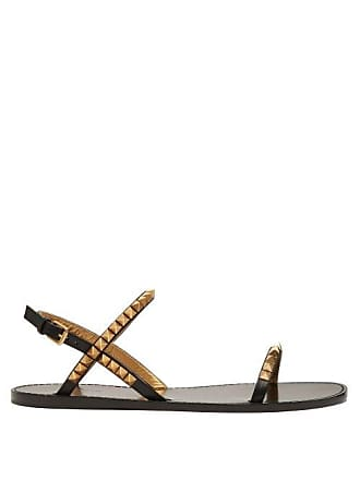 Valentino Rockstud Flat Leather Sandals - Womens - Black