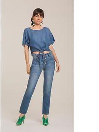 Lebôh Calça Mom Cos Alto Detalhe Botao Jeans 34